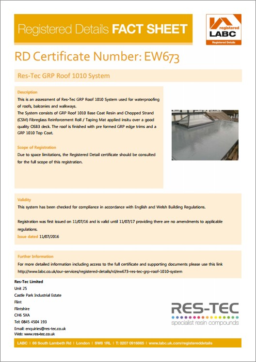 GRP Flat Roof Replacement | GRP Roof 1010 by Res-Tec Roofing